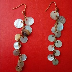 Dangling shell mother of pearl hook earrings